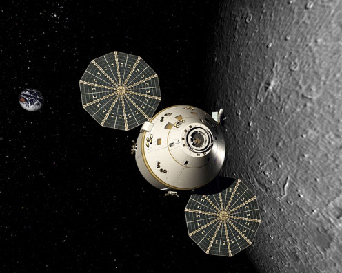Solar sails in use by an Orion space vehicle.