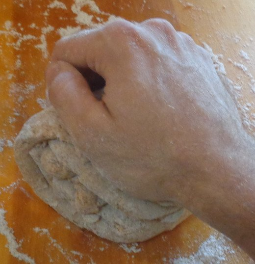 To knead the dough, push down and away with palm of hand.