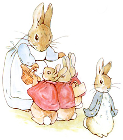 Peter Rabbit and family.