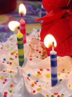 Candles on the birthday cake