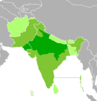 Northern States of India where Hindi and its dialects are spoken are highlighted in dark green.
