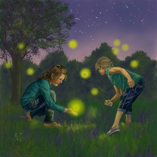 Final Stage 'Catching Fireflies'  Prints are available at http://www.redbubble.com/people/ellietaylorart