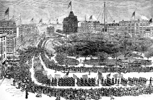Lithograph: Labor Day Parade, Union Square, New York, 1882. Parade was organized by the Central Labor Union and the Knights of Labor.