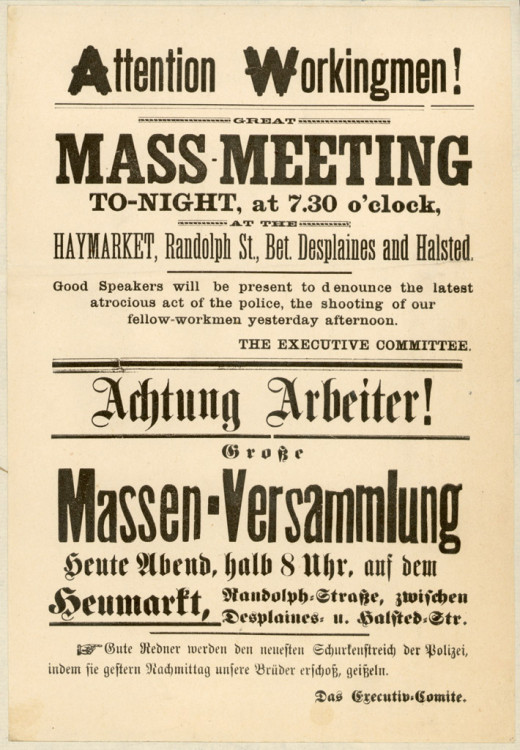 "This is the revised flyer, the first flier printed up had the words ""Workingmen Arm Yourselves and Appear in Full Force!"", which were removed from the revised flyer."