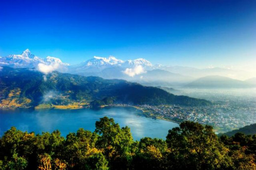 View of Pokhara valley and the Annapurna range from a hilltop where the peace pagoda is located