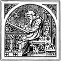 An old engraving of a very studious scholar bent over an antique writing desk.