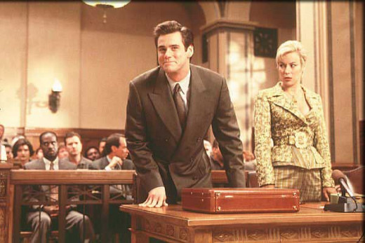 Samantha Cole (Jennifer Tilly) watches Fletcher make a fool of himself in court.