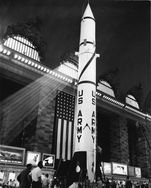 Redstone missile displayed in Grand Central Terminal, NYC on July 7, 1957