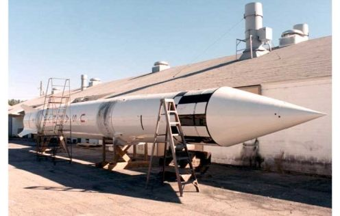 A fully restored Redstone Rocket, most active between the years of 1952 through 1964.