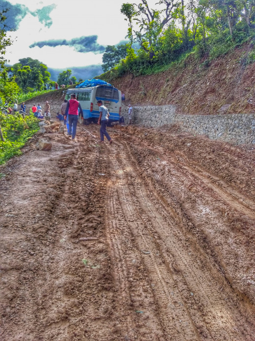 rough Way of Darchula near Mahakali river.