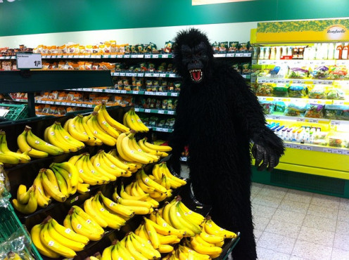 All kinds of folks love bananas, but this was not always so. Advertising them has become fun, especially at Halloween.