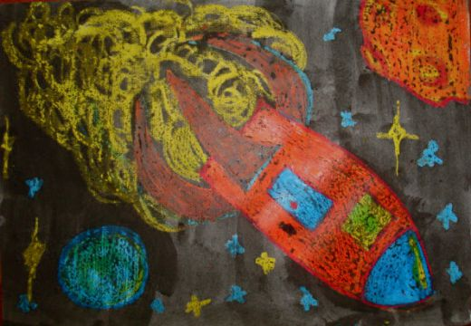 Art lessons for kids outer space crayon resist for Outer space project
