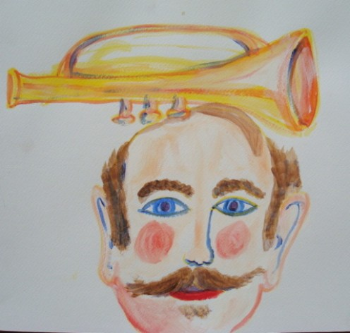 The yellow trumpet balanced on the fat man's head.