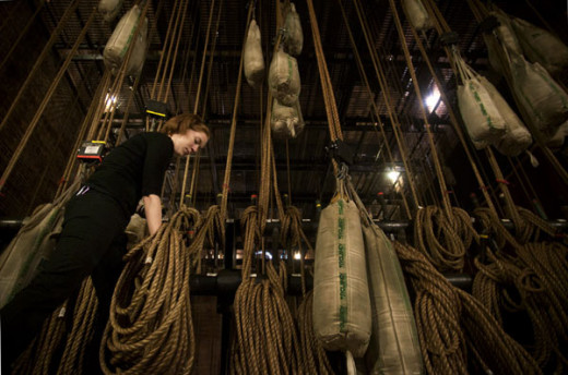Rigging is one of the behind the scenes jobs in theater. This involves working with cords, chains and ropes backstage.