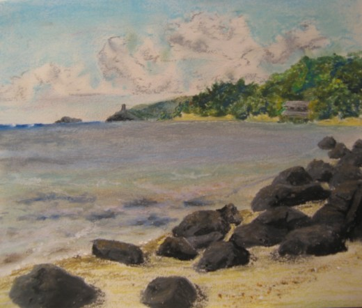 Oil Pastel of Kilauea Lighthouse and Anini Beach, copyright A. S.