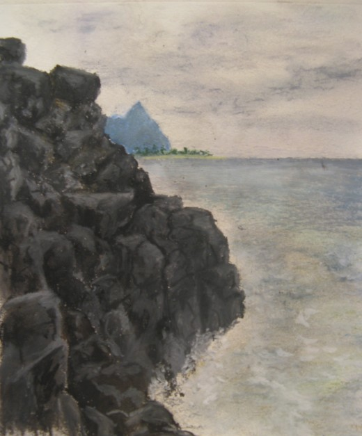 Oil Pastel of Lava Rocks and Bali High; copyright A. S.