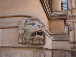One of the lion's heads at Town Hall, Sydney, NSW, Australia.