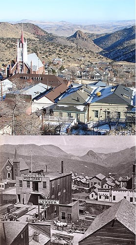 Virginia City, then and now, St Mary in the Mountains Church can be seen towards the back of both photos.  It is the oldest Catholic Church in Nevada. It was rebuilt after the Great Fire of 1875.
