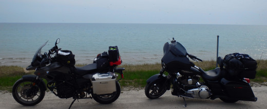 BMW and Harley on the coast of Lake Michigan