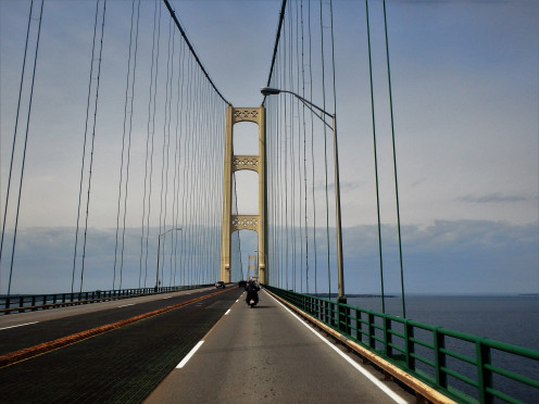 Riding on the Mackinac Bridge