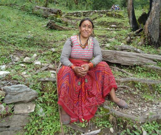 A charming old Garhwali woman whom we met while trekking