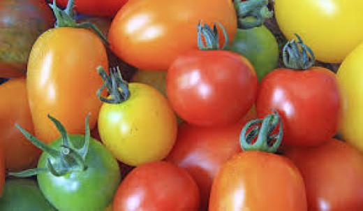 Cherry tomato, Yellow pear, Green tomato