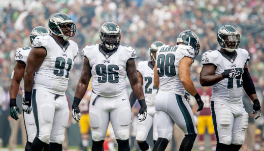 The heart of the Eagles D: (L-R) Fletcher Cox, Bennie Logan, Connor Barwin & Cedric Thornton