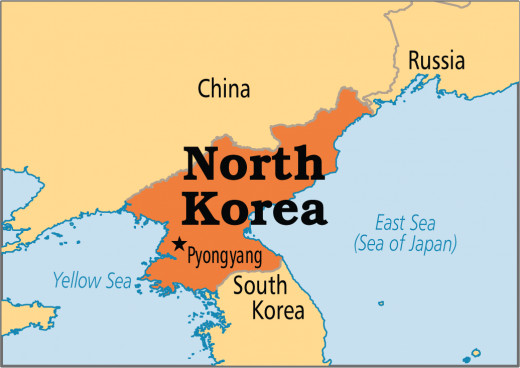 Here is a map showing North Korea and its capital Pyongyang.