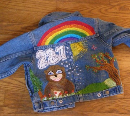 Embroidered Jacket Design Made with Coloring Page Art
