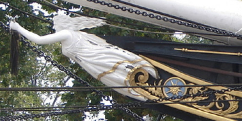 Nannie, figurehead of the Cutty Sark, wearing her 'cutty sark'
