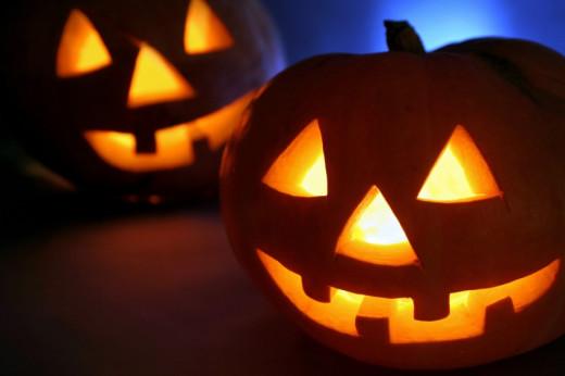 Spooky Lit Pumpkins