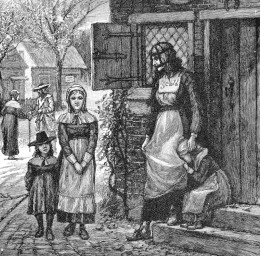 In the first season of Salem Mercy Lewis is seen with the Scold's Bridle on, this is the same device the woman is wearing in this drawing.