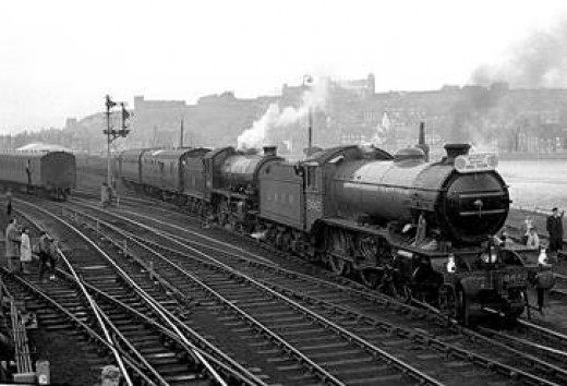 K4 3442 'Great Marquess' in LNER livery and K1 62005 at Whitby on the Whitby Moors Tour early in 1965 before closure of the Whitby-Scarboro and Grosmont-Malton lines - last stretch back to York via Pickering and Malton ahead