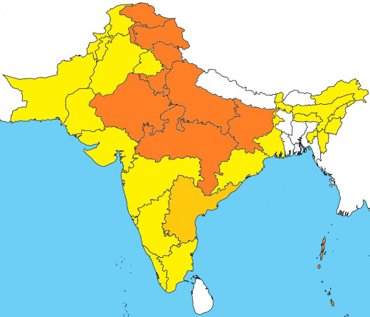 Areas where Hindi and Urdu are predominantly spoken and where it is the official language.