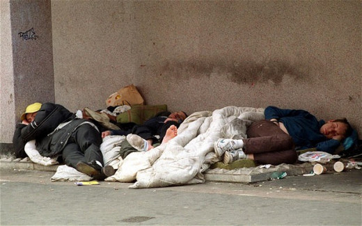 Homeless people in streets of Mexico city