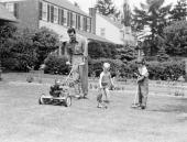 The vintage lawn mower.