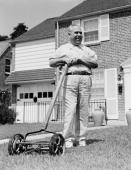 In the 1950's, a man felt like a real man when he became the owner of a real lawn mower.