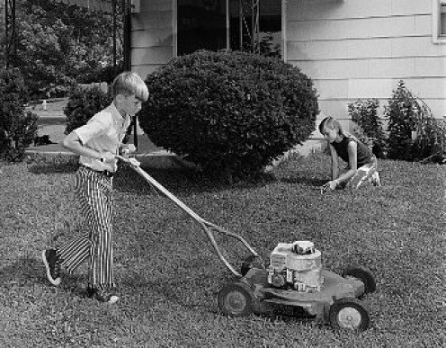 "And in time, lawn mowing was handed-down to ""little Johnny"" who carried on this American tradition."