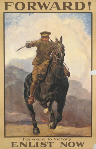 This poster was produced in September 1915 and was the last one to make use of an image in the recruitment campaign. By the time it was produced enlistment numbers had fallen and the introduction of conscription was inevitable.  However, posters like