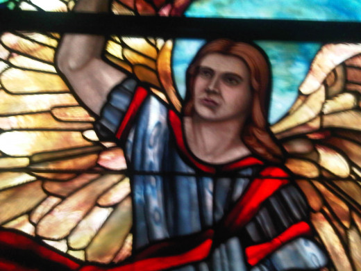 A portrayal of an angry angel, supposedly contemplating work to be completed for an angry God.