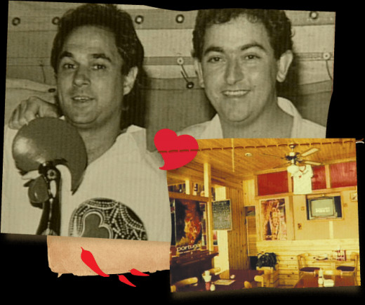 Nando's founders Fernando Duarte and Robbie Brozin and the first Nando's restaurant shown in the bottom right corner.