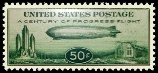 This is the 50-cent Baby Zeppelin stamp, Ir was issued on October 2, 1933 to commemorate the Century of Progress World's Fair held in Chicago.