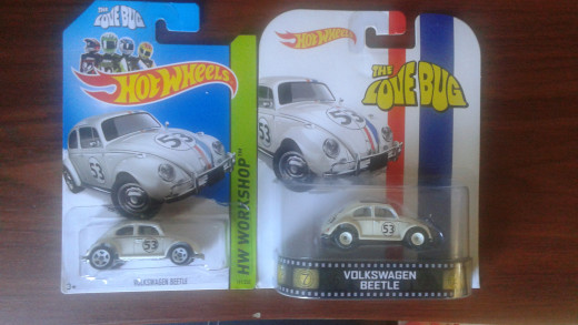 A comparison between Hotwheels' Retro Entertainment line with a basic/regular Hotwheels. Notice the difference in detail and package representation