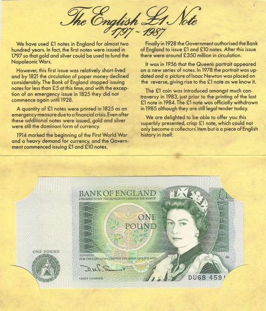 This is an example of an uncirculated British pounds note with descriptions and elaborations on its origin.