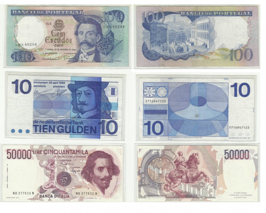These are some of the pre-Euro banknotes in my collection. From top to bottom: Portugal, Netherlands and Italy respectively