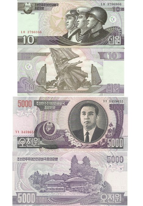 North Korean banknotes with an image of their supreme leader as well as young citizens proudly wearing uniforms with the communist emblem, the star.