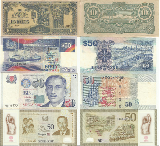 Look at some of the different notes used in Singapore over the years from WWII in 1942 to the SG50 commemorative notes issued in 2015. From paper notes to polymer ones the security features on the notes were enhanced over time.