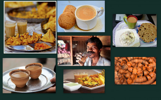 Collage of chai as served in India