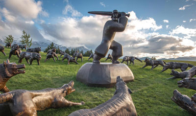 """The Hills Golf Course in Nearby Arrowtown has sculptures throughout the course such as """"100 Wolves"""" which is just off the 18th fairway."""