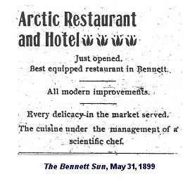 advertisement for The Arctic Restaurant in Bennett, Canada, co-owned by Trump's grandfather